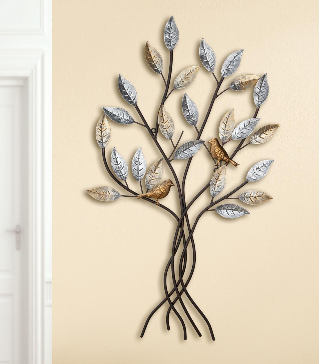 Metalen wandobject boom met vogels 50x76