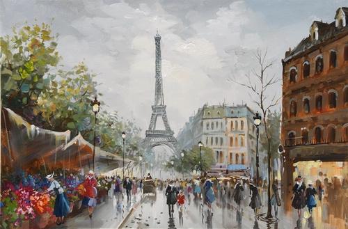 Schilderij stadsgezicht Parijs 80x120