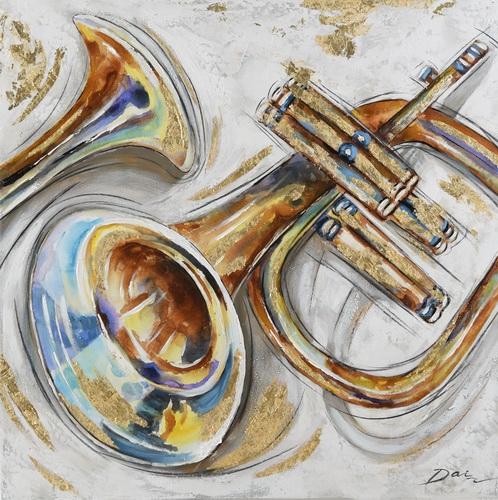 Schilderij trompet 70x70