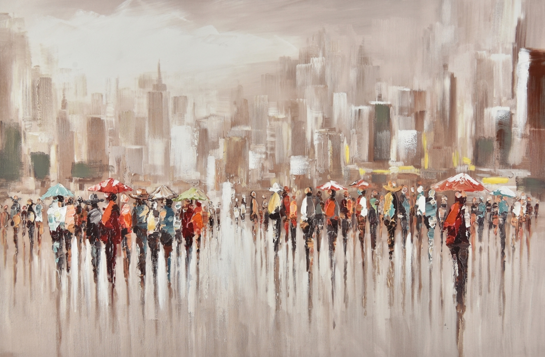 Schilderij bruisende stad 100x150