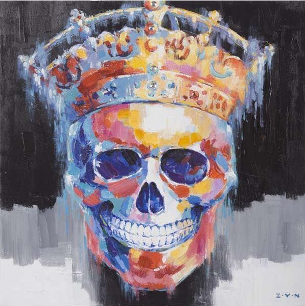 schilderij schedel modern 100x100