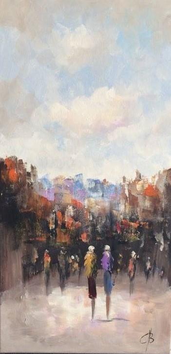 Schilderij Stadsgezicht 45x90