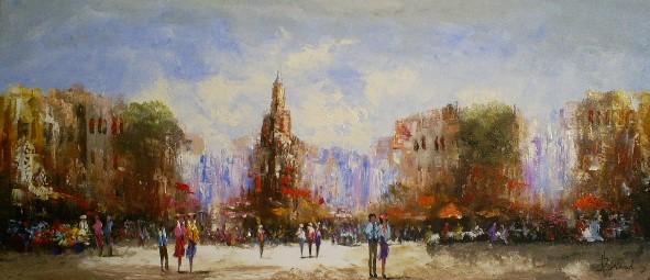 Schilderij Stadsgezicht 70x160