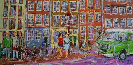 Schilderij modern stad met vw bus 70x140