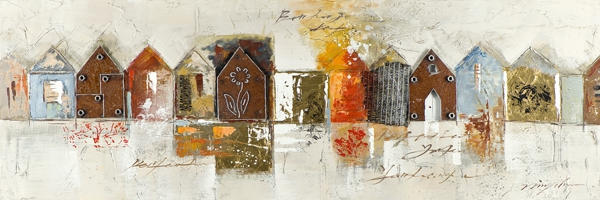 schilderij huisjes 50x150