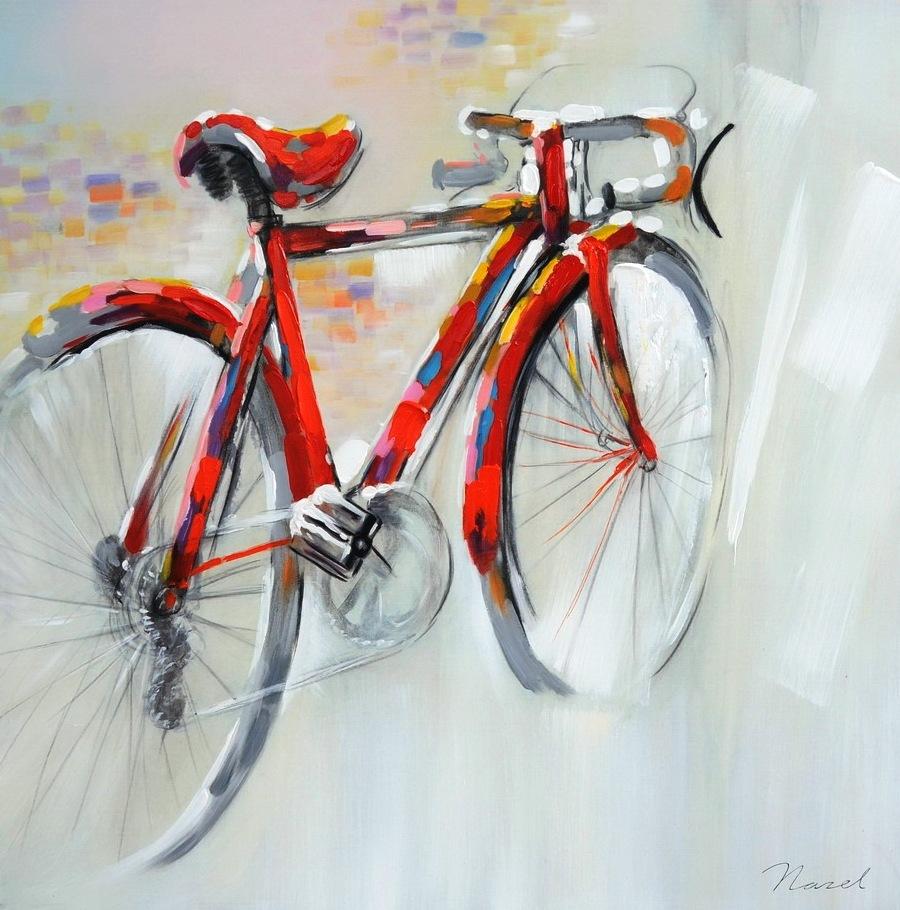 schilderij fiets 80x80