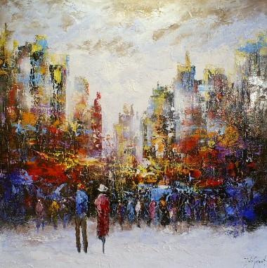 Schilderij stad modern 100x100