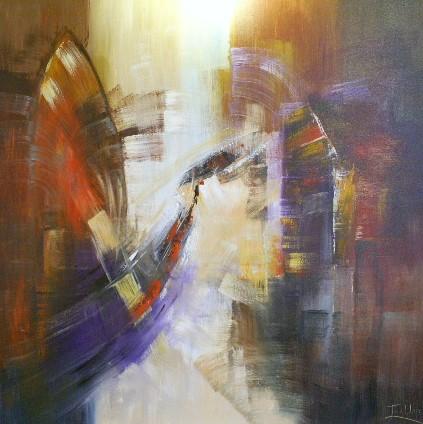 schilderij modern 120x120