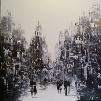 Schilderij Stadsgezicht 90x90