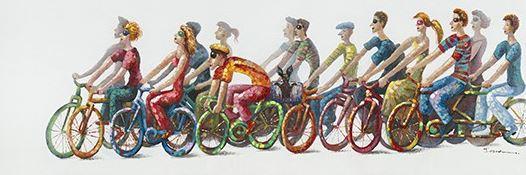 Schilderij fietsers 60x180