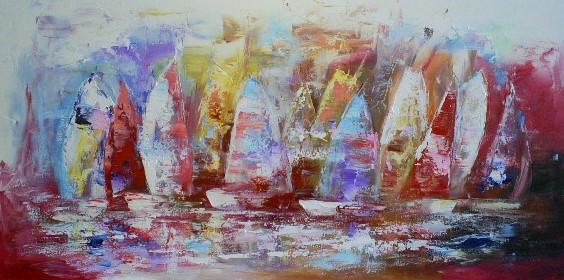 schilderij zeilboten 70x140