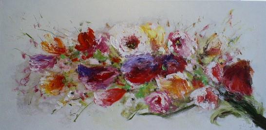 Schilderij bloemen 70x140 jg2647