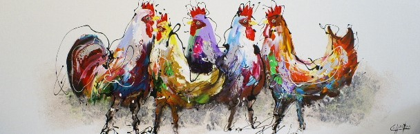 Schilderij kippen 50x150