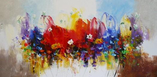 Schilderij bloemen modern 70x140