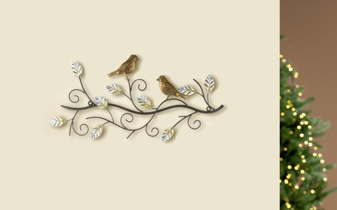 Metalen wandobject boom met vogels 24x49
