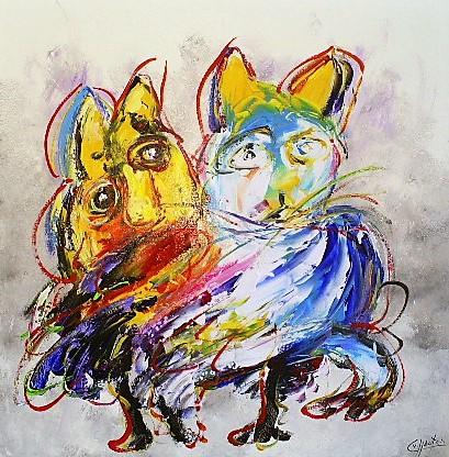 Schilderij modern dieren 100x100