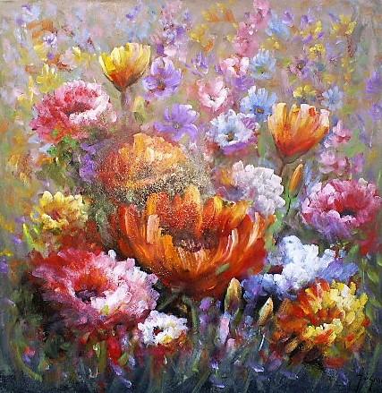 Schilderij bloemen kleurrijk 100x100