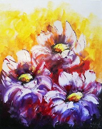 Schilderij bloemen 80x100