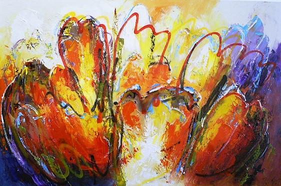 Schilderij bloemen modern 80x120