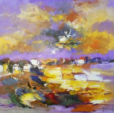 Schilderij landschap 80x80