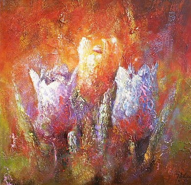 Schilderij tulpen 80x80 J de Graaf