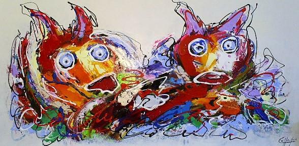 Schilderij dieren modern 70x140