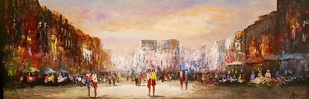 Schilderij stadsgezicht 50x150