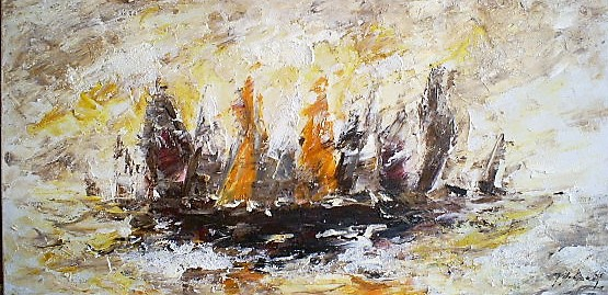 Schilderij zeilboten modern 70x140