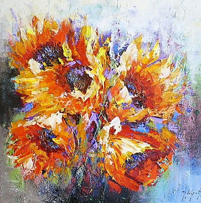 Schilderij bloemen 90x90