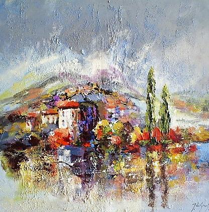 Schilderij landschap 90x90