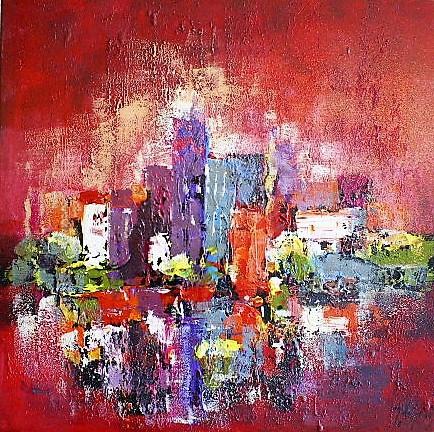 Schilderij stad modern 90x90