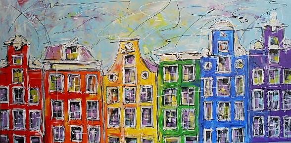 Schilderij grachtengordel 70x140