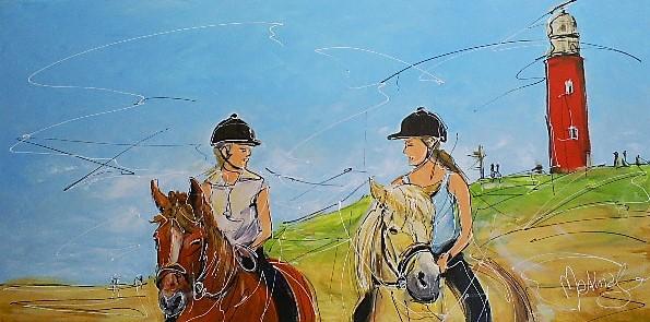 Schilderij paard op strand 70x140