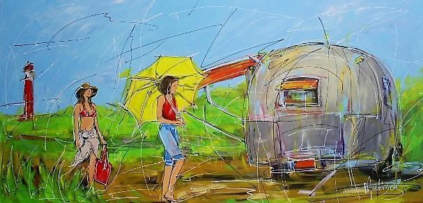 Schilderij kamperen 70x140