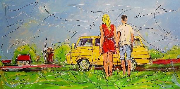 Schilderij vakantie 70x140