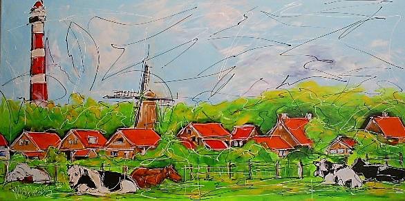 Schilderij polder 70x140