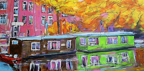Schilderij woonboot 70x140