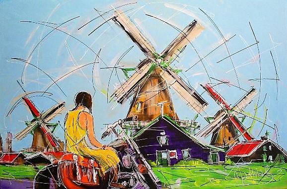 Schilderij molens 80x120