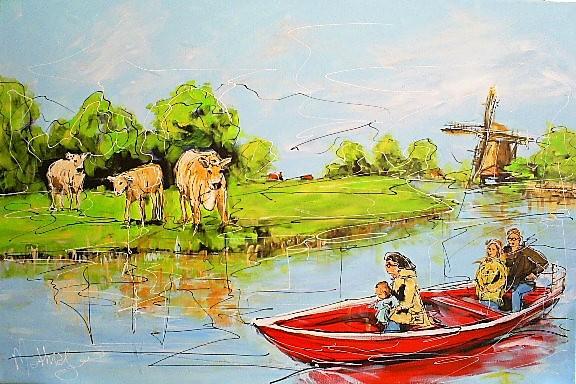 Schilderij Nederlandse polder 80x120