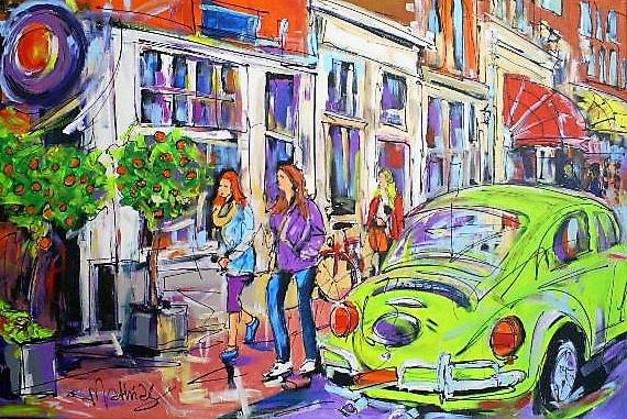Schilderij winkelstraat 80x120