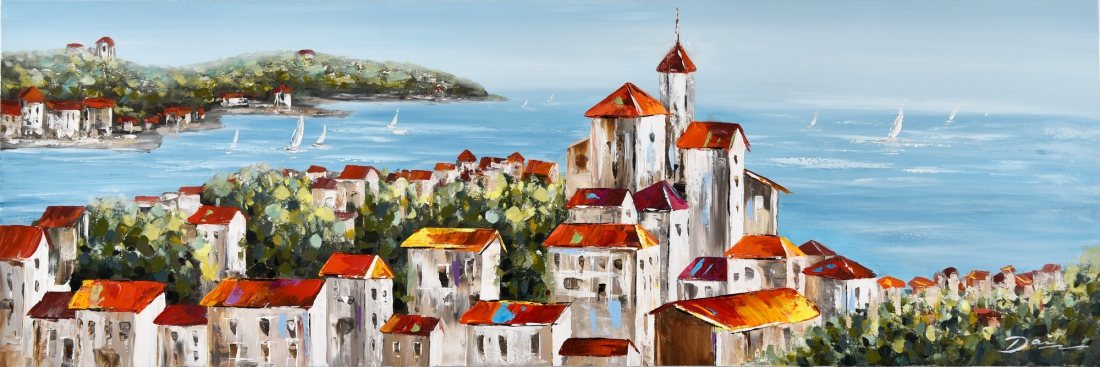 Schilderij stad met zeezicht 50x150