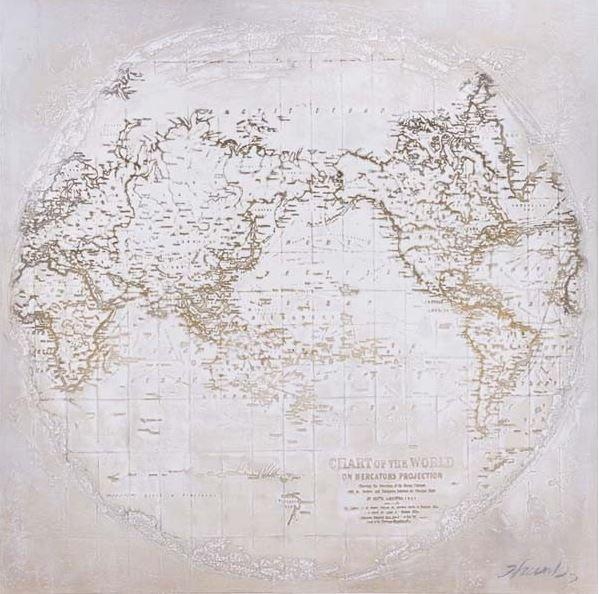 schilderij wereldkaart 100x100