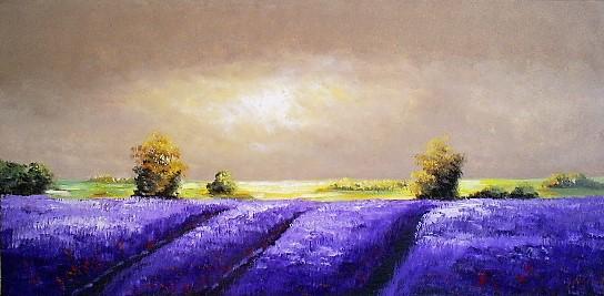 Schilderij landschap lavendel 70x140