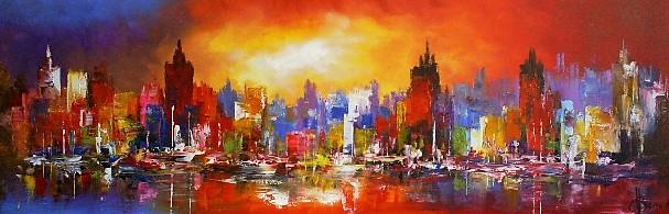 Schilderij stadsgezicht modern 50x150