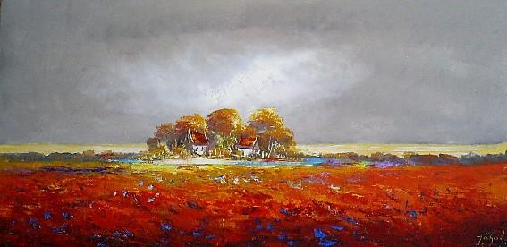 Schilderij landschap 70x140