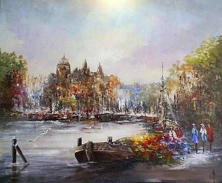 Schilderij haven 100x120