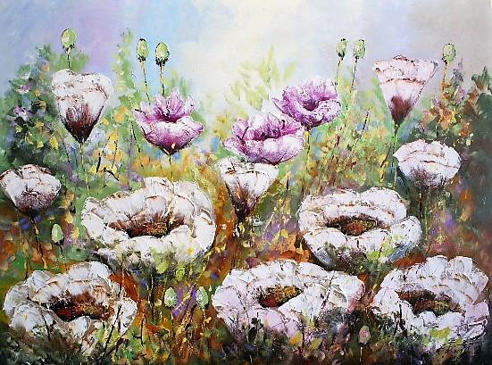 Schilderij bloemenveld 120x160