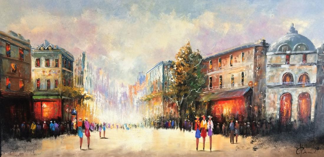 Schilderij stadsgezicht 70x140