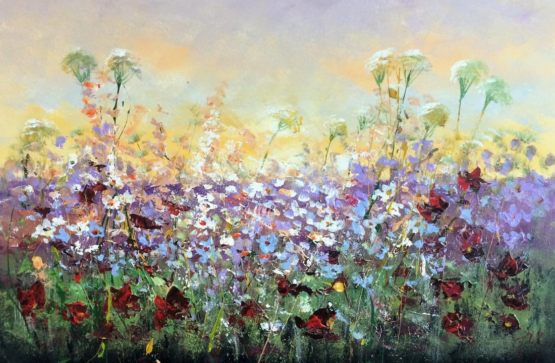 Schilderij bloemenveld 80x120
