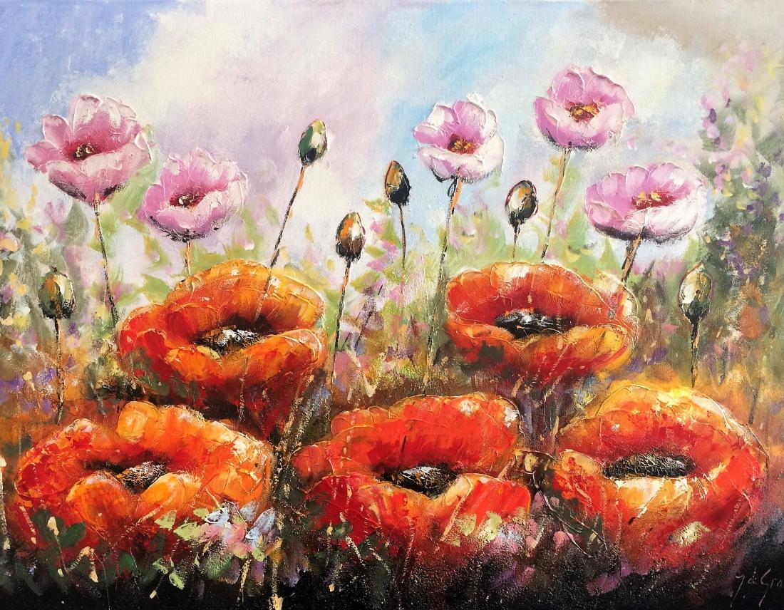 Schilderij bloemen 90x120